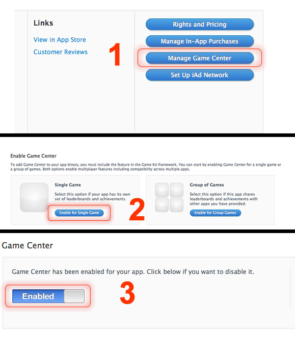 Game Center Activation iTunes Connect